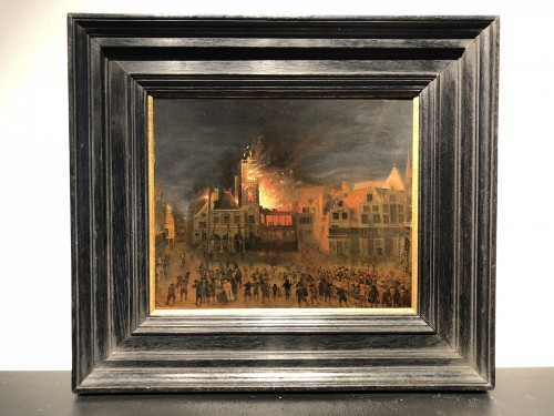 Attributed to Gerrit Lundens - Fire at Amsterdam City Hall in 1654 - Paintings & Drawings Style