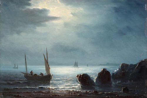 Henriette Gudin (1825-1876) - Fishing in the moonlight pair) - Paintings & Drawings Style