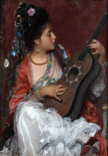 Adriano Bonifazi (1854-1914) - Young Spanish girl with a guitar