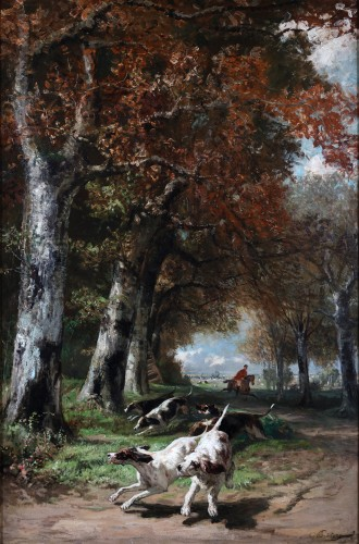 Edmond de Pratere (1826-188) - Hunting dogs