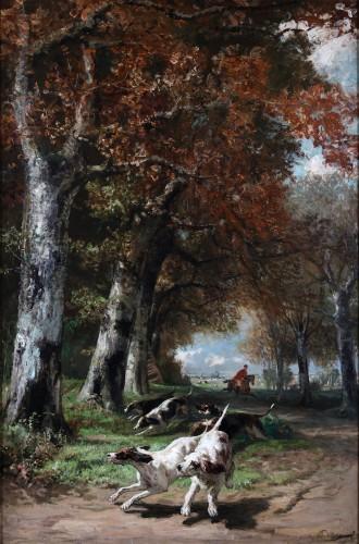 Edmond de Pratere (1826-188) - Hunting dogs