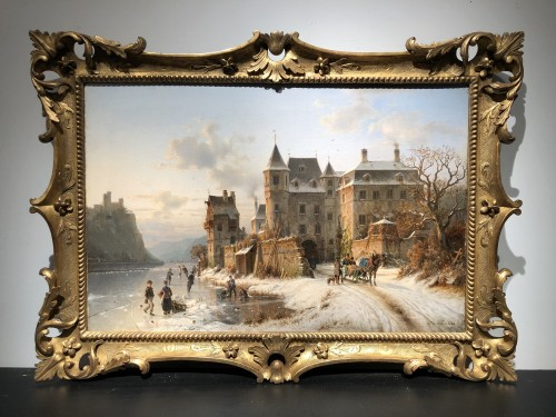 Johannes Bartholomeus Duntze (1825-1895) - Ice skaters - Paintings & Drawings Style