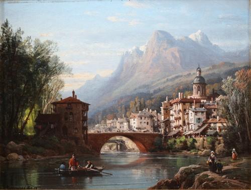 Charles Euphrasie Kuwasseg (1833-1904) - Landscapes of the Alps (Pair) - Paintings & Drawings Style