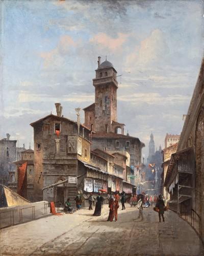 Charles Euphrasie Kuwasseg (1833-1904) - The Ponte Vecchio in Florence