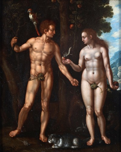 Adam and Eve - Oil on copper circa 1600