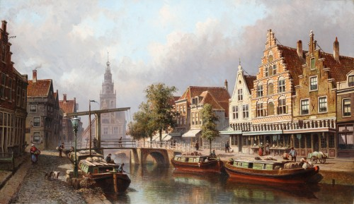 Eduard Alexander Hilverdink (1846-1891) - View of the city of Alkmaar