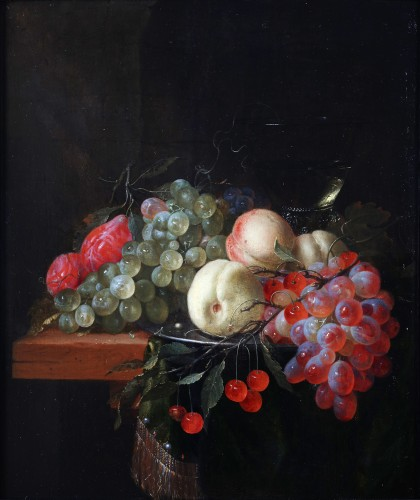 Still life with peaches, grapes and plums by Pieter de Ring (ca 1616-1660)