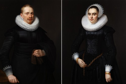 Pair of portrait painting - Michiel van Mierevelt (1567-1641) attributed to