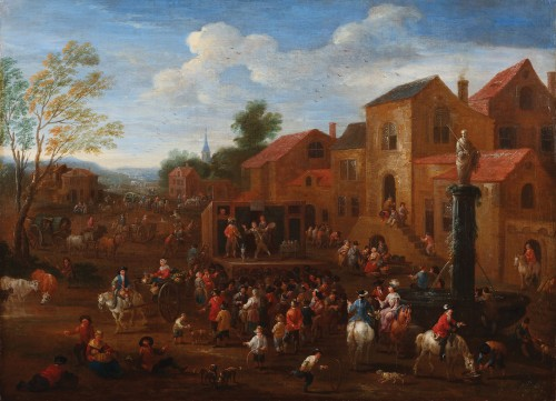 Mathys Schoevaerts (Brussels 1665-1702) - Commedia dell-arts on the village square
