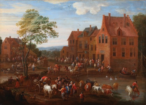 Mathys Schoevaerts (Brussels 1665-1702) - Commedia dell-arts sur la place du village - Tableaux et dessins Style