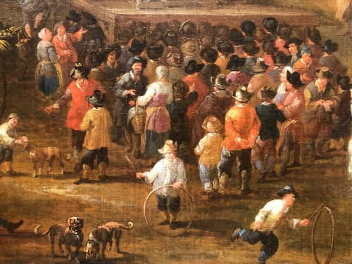 Mathys Schoevaerts (Brussels 1665-1702) - Commedia dell-arts sur la place du village - Jan Muller