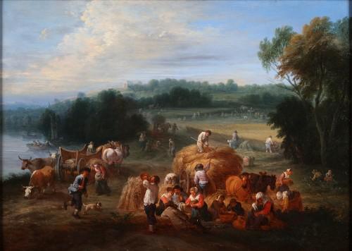 Théobald Michau (1676-1765) -  tThe harvest and The village feast - Paintings & Drawings Style