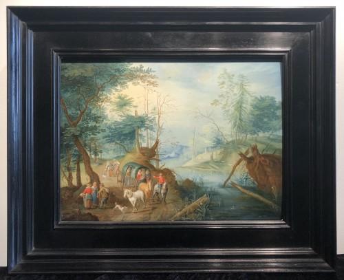 Landscape with figures - Jan frans van Bredael the Elder (Antwerp 1686-1750) - Paintings & Drawings Style