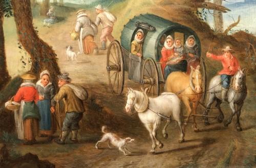 Paintings & Drawings  - Landscape with figures - Jan frans van Bredael the Elder (Antwerp 1686-1750)