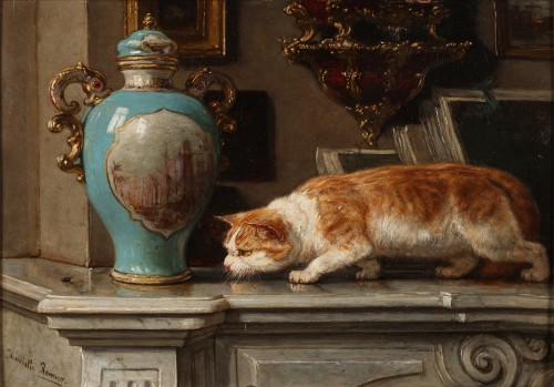 The hunter- Henriette Ronner (1821-1909)
