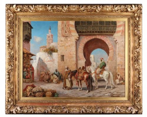 Arthur Trevor Haddon (1864-1941) - Arab horsemen before a town gate