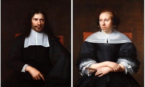 Portraits of a husband and wife - attributed to Jacob Adriaenz Backer