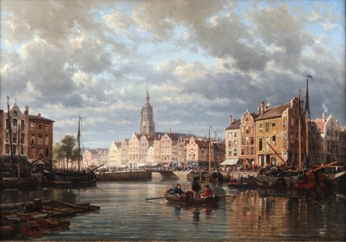 Charles Euphrasie Kuwasseg (1838-1904) - View of a Dutch harbour