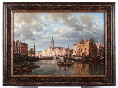 Charles Euphrasie Kuwasseg (1838-1904) - View of a Dutch harbour - Paintings & Drawings Style