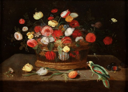 A flower basket with a parrot - The pseudo Van Kessel the Younger