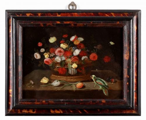 A flower basket with a parrot - The pseudo Van Kessel the Younger - Paintings & Drawings Style