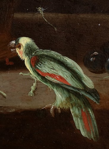 17th century - A flower basket with a parrot - The pseudo Van Kessel the Younger