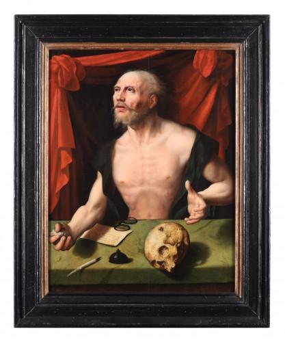 Penitent Saint Jerome - Joos van Cleve (workshop of)  - Paintings & Drawings Style