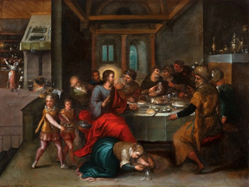 The foot washing of Christ - Frans Francken II (Antwerp 1581 - 1642 Antwerp) and workshop
