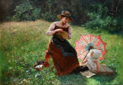 Paul Hermann Wagner. Mother with daughter on a summer's day