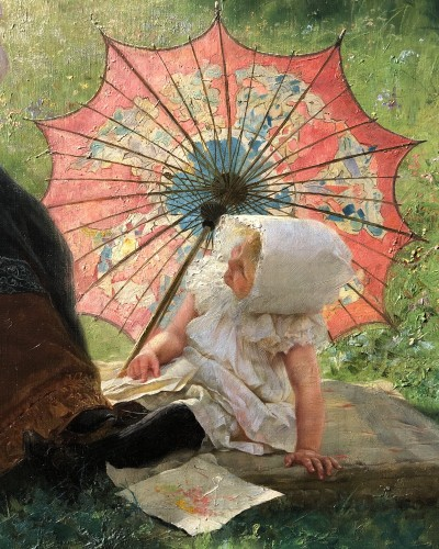 Paul Hermann Wagner. Mother with daughter on a summer's day -
