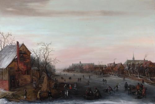 Skaters on a Dutch canal  - Cornelis Liefrinck II (1581-1662)