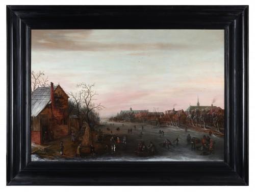 Antiquités - Skaters on a Dutch canal  - Cornelis Liefrinck II (1581-1662)