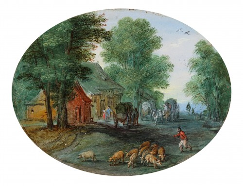 Village scene with a drift of pigs - Jan Brueghel the Younger (1601-1678)