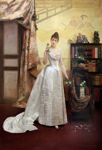 Elegant lady holding a rose by Georges Croegaert (1848-1923)