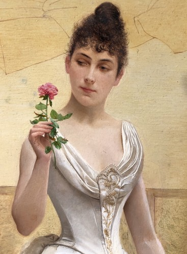 Elegant lady holding a rose by Georges Croegaert (1848-1923) - Paintings & Drawings Style