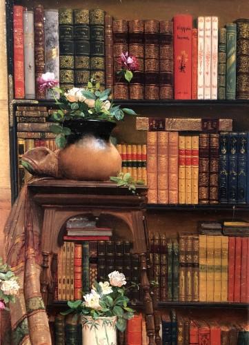 Elegant lady holding a rose by Georges Croegaert (1848-1923) -