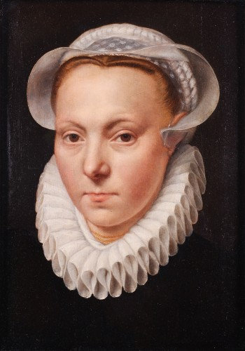 Portrait of a woman with a lace ruff  by Frans I Pourbus (1545-1581)