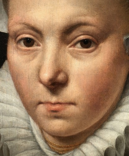 Portrait of a woman with a lace ruff  by Frans I Pourbus (1545-1581) - Paintings & Drawings Style