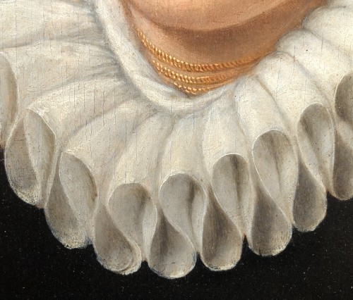 Portrait of a woman with a lace ruff  by Frans I Pourbus (1545-1581) -