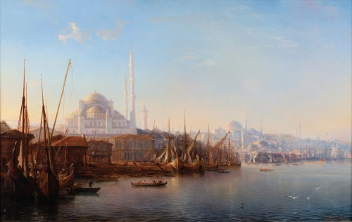 Théodore Gudin (1802-1880)  - Animated view of the Bosphorus