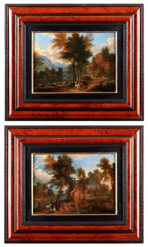 Paire of landscape - Mathys Schoevaerts (1665 - after 1702)