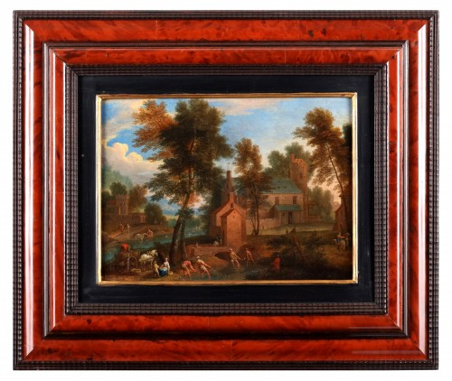 Paire of landscape - Mathys Schoevaerts (1665 - after 1702) - Paintings & Drawings Style