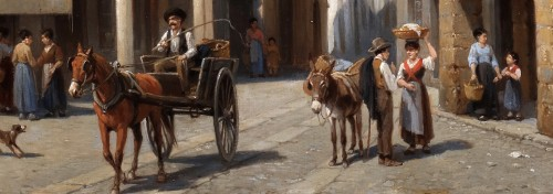 Jacques Carabain (1834-1933) - market place of Domodossola in Italy - Paintings & Drawings Style