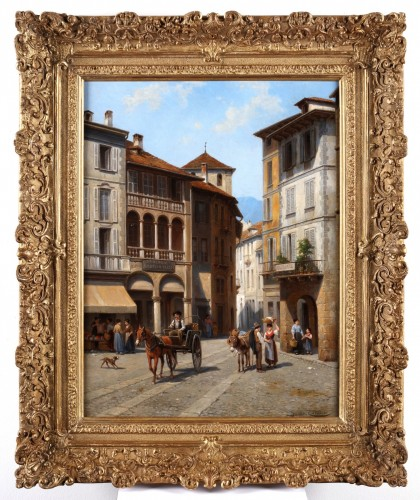 - Jacques Carabain (1834-1933) - market place of Domodossola in Italy
