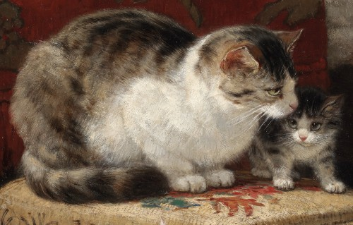 19th century - Henriette Ronner (1821-1909) - Motherhood