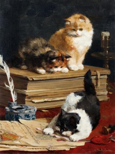 Playfull kittens - Charles van den Eycken (1859-1923)