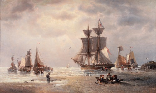 Ships before the Harbour - François-Etienne Musin (1820-1888)