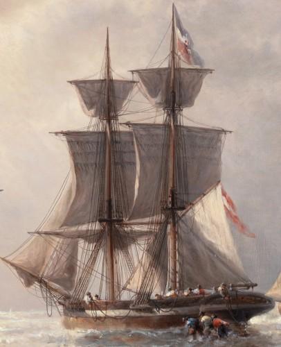 Ships before the Harbour - François-Etienne Musin (1820-1888) -