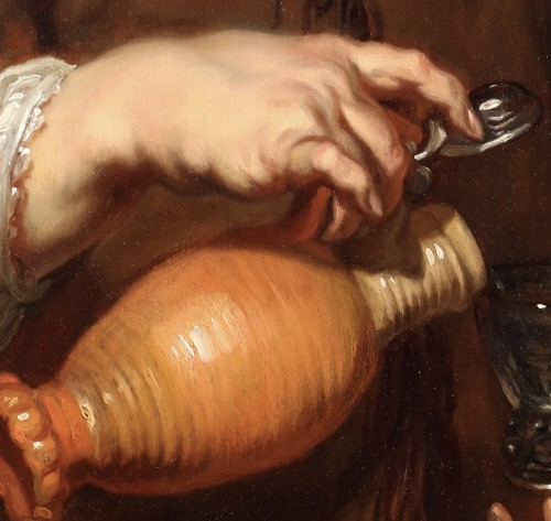 17th century - Jan Cossiers. Man with a jug pouring beer.