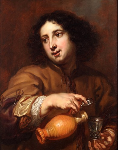 Jan Cossiers. Man with a jug pouring beer. -